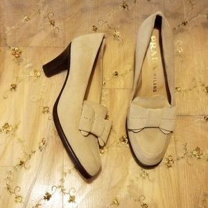 Prada Camel Suede Leather Lolita Bow Pumps